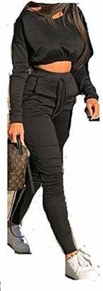 Shapeup New women Ladies Co ord Crop Top Bottoms Set Womens 2pcs Loungewear Suit Tracksuit 8-22 (8