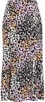 Veronica Beard Diane Leopard Printed Silk Skirt