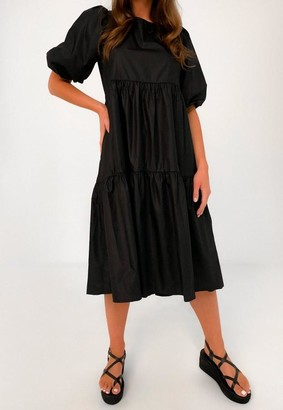 Missguided Petite Black Puff Sleeve Smock Dress