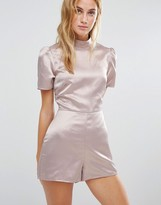 Fashion Union High Neck Romper With Open Back