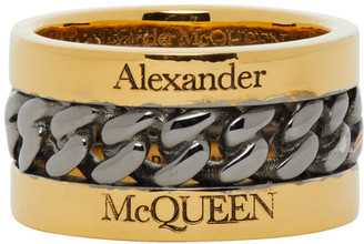 Alexander McQueen Gold and Gunmetal Inserted Chain Ring