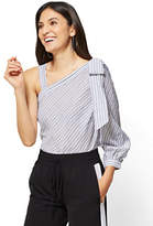 New York & Co. 7th Avenue - One-Shoulder Blouse - Stripe