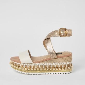 River Island Womens Beige studded flatform wedge wide fit sandals