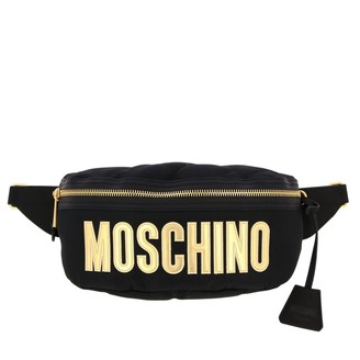 Moschino Pouch In Quilted Nylon With Big Logo