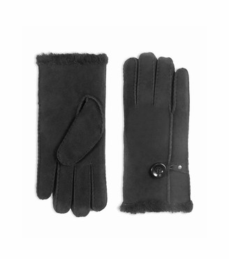 YISEVEN Women Merino Rugged Lambskin Shearling Leather Gloves Button Sherpa Furry Cuff Thick Wool Lined Heated Warm for Winter Cold Weather Dress Driving gift