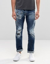 Replay Maestro No.2 Straight Jeans Dark Wash Extreme Rip Repair