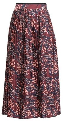 Victoria Victoria Beckham Pleated Printed Satin-twill Midi Skirt