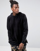 Asos Oversized Hoodie In Velour With Side Zips