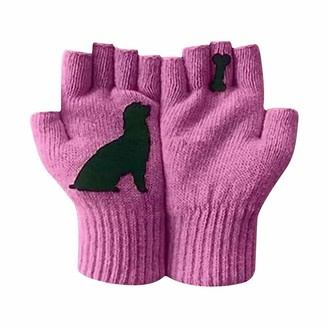 Rikay Ladies Woolen Gloves Autumn And Winter Outdoor Warm Dog Bones Printing Gloves Anti-slip Touchscreen Gloves Womens Running Driving Gloves Hand Warmers For Skiing Hunting