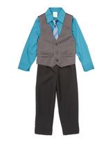 Perry Ellis Colonial Blue Herringbone Vest & Tie Set - Toddler & Boys