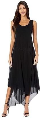Fuzzi Sleeveless Tank Tiered Tulle Dress (Nero) Women's Dress