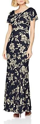 Gina Bacconi Women's Lulu Floral Chiffon Maxi Empire Floral V-Neck Short Sleeve Party Dress,8
