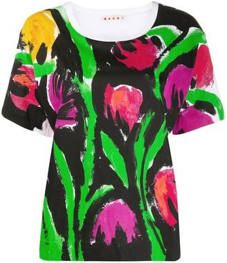 Marni brushstroke flower print T-shirt
