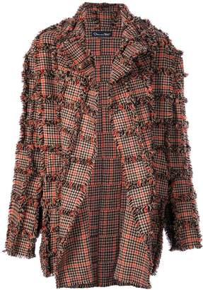 Oscar de la Renta oversized plaid fringed coat