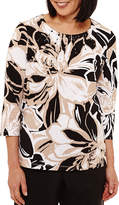 Alfred Dunner Classics 3/4 Sleeve Crew Neck Floral T-Shirt-Womens