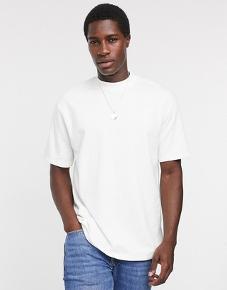 Topman oversized high neck t-shirt in white