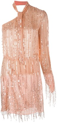 Elisabetta Franchi Sequin Embellished One Sleeve Dress