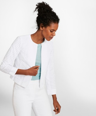Brooks Brothers Striped Cotton Dobby Cropped Jacket