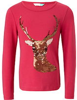 John Lewis Girls' Deer Sequin Top, Berry