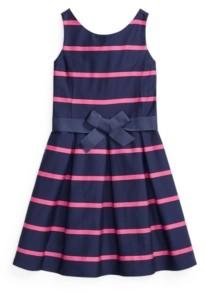 Polo Ralph Lauren Big Girls Striped Sateen Dress