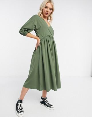 ASOS DESIGN midi smock dress with wrap top in khaki
