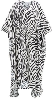 Halpern Zebra-print Crepe Kaftan - Black White