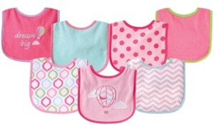 Luvable Friends Drooler Bibs with Waterproof Back, 7-Pack, Pink Balloon, One Size