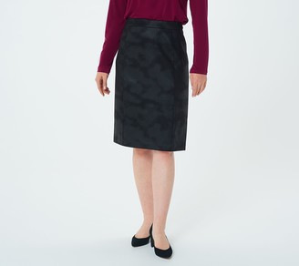 Susan Graver Printed Faux Suede Pull-On Pencil Skirt