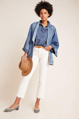 Mother The Insider High-Rise Frayed Bootcut Jeans