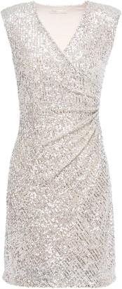 Maje Ruched Sequined Stretch-mesh Mini Dress