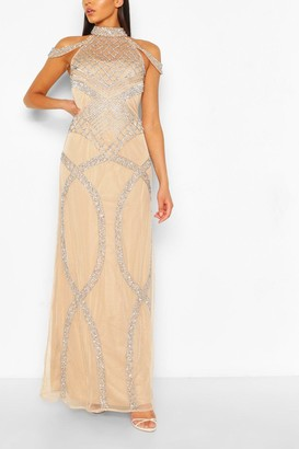 boohoo Occasion Hand Embellished Cold Shoulder Maxi Dress