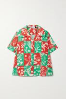 Thumbnail for your product : Rixo Rickie Printed Silk Shirt - Green