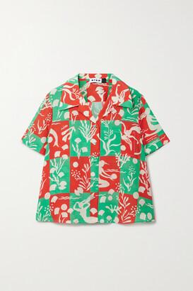 Rixo Rickie Printed Silk Shirt - Green