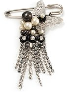 Avalaya Stylish Butterfly, Crystal & Simulated Pearl Charm Pin Brooch ( Tone)