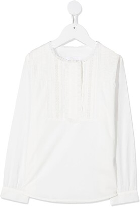 Chloé Kids Lace And Pleat Detail Long-Sleeve Top