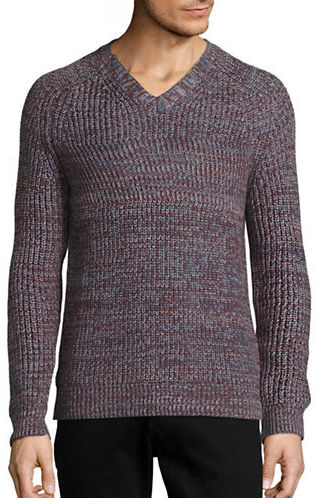 Perry Ellis Textured V-Neck Sweater