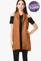 Select Fashion Fashion Womens Brown Suedette Sleeveless Jacket - size 12