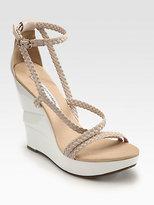 Diane von Furstenberg Olive Braided Leather Wooden Wedge Sandals