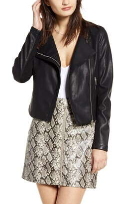 Blank NYC BLANKNYC Record Breaker Collarless Faux Leather Moto Jacket