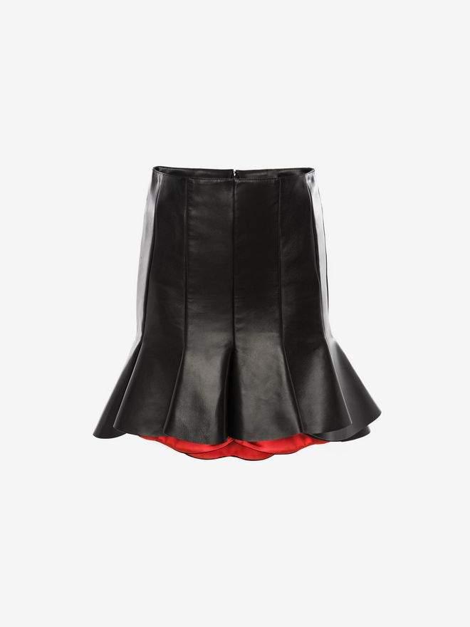 Alexander McQueen Bi-Colour Leather Mini Skirt