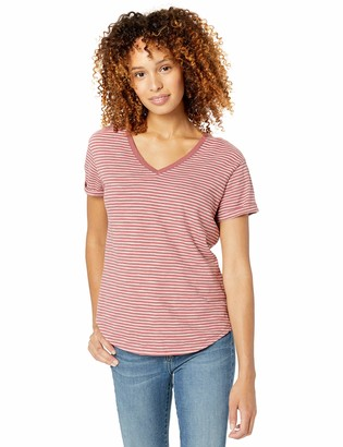 Goodthreads Amazon Brand Women's Vintage Cotton Roll-Sleeve V-Neck T-Shirt