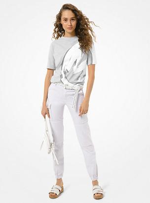 MICHAEL Michael Kors MK Logo Cotton Jersey Unisex T-Shirt - Pearl Grey - Michael Kors