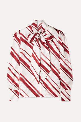 Racil Agata Pussy-bow Striped Silk-twill Blouse - White