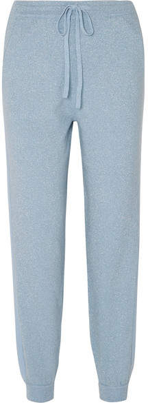Allude Metallic Wool And Cashmere-blend Track Pants - Light blue