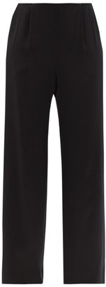 LA COLLECTION Calypso Silk-charmeuse Wide-leg Trousers - Black
