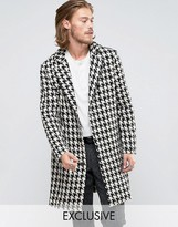 Reclaimed Vintage Overcoat In Hounds Tooth With Raw Hem