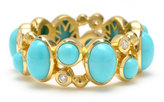 Elizabeth Showers 18k Madeleine Turquoise & Diamond Band Ring, Size 7