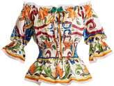 Dolce & Gabbana Majolica-print off-the-shoulder cotton-blend top