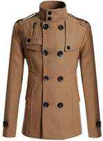 Allonly Men's Classic Double Breasted Wool Blend Lapel Stand Collar Pea Coat