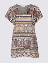 Marks and Spencer Geometric Print V-Neck Short Sleeve Tunic